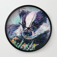 badger Wall Clocks featuring Badger by Sarah Jane Bradley