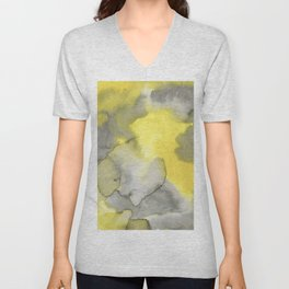 Hand painted gray yellow abstract watercolor pattern Unisex V-Neck