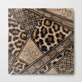 Leopard Fur with Ethnic Ornaments #3 Metal Print