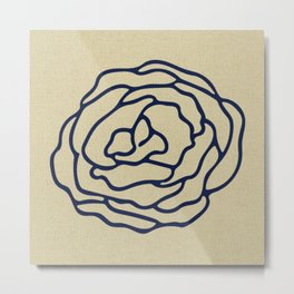 Rose Nautical Navy Blue on Linen Metal Print