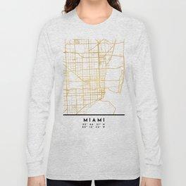 MIAMI FLORIDA CITY STREET MAP ART Long Sleeve T-shirt
