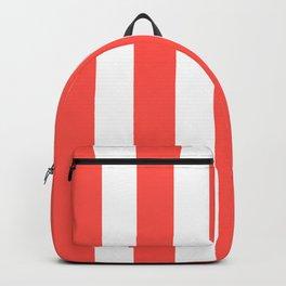 Orange-red (Crayola) - solid color - white vertical lines pattern Backpack