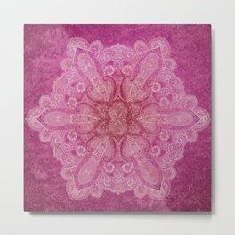 Big paisley mandala in raspberry Metal Print