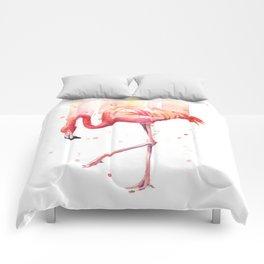 Pink Flamingo Watercolor Tropical Bird Comforters