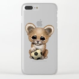 Lion Cub With Football Soccer Ball Clear iPhone Case