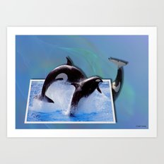 Leaping Orcas Art Print
