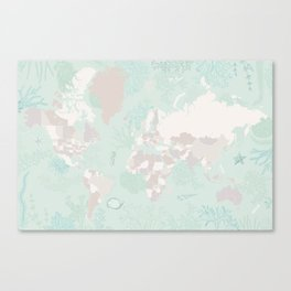 """World map with coral, seaweed and marine creatures, """"Lenore"""" Canvas Print"""