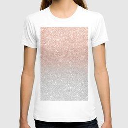 Modern trendy rose gold glitter ombre silver glitter T-shirt