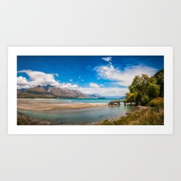 Unspoiled alpine scenery at Kinloch Wharf, New Zealand Art Print
