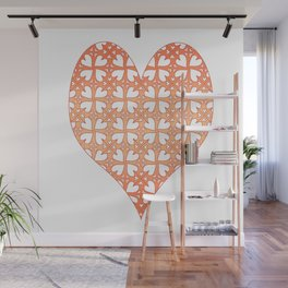Living Coral Hearts Pattern Wall Mural