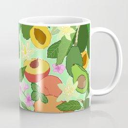 Avocado + Peach Stone Fruit Floral in Mint Green Coffee Mug