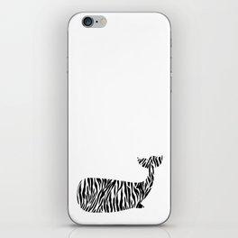 Whale with zebra print iPhone Skin