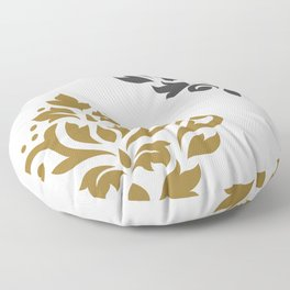 Scroll Damask Art I Gold & Grey on White Floor Pillow