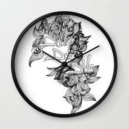 down dog diva black & white Wall Clock