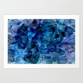 Blue Chrystal Ice Abstract Art Print