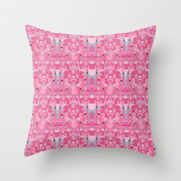 Pink and Blue Abstract Unicorn Psychedelic Print Throw Pillow