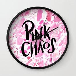 pink chaos Wall Clock