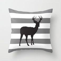 Deer in Black on Grey and White Stripes Throw Pillow