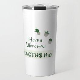 Cactus quotes, green, white decor, buyart, society6, cactus-leaves, tropical desert, cacti Travel Mug