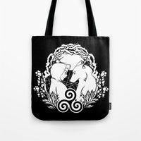 teen wolf Tote Bags featuring Teen Wolf by grumpy wolf