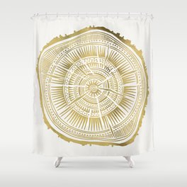 Paper Birch – Gold Tree Rings Shower Curtain