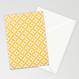 Yellow, coral and white elegant tile ornament pattern Stationery Cards