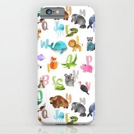 Cute Watercolor Animal Alphabet Pattern iPhone Case