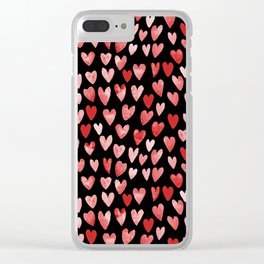 Watercolor Hearts pattern black red and pink minimal valentines day perfect gift for love Clear iPhone Case
