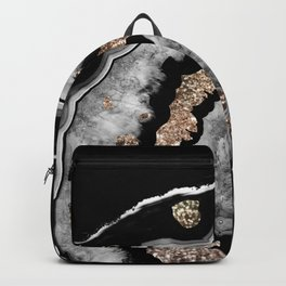 Gray Black White Agate with Gold Glitter on Black #1 #gem #decor #art #society6 Backpack