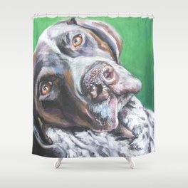 GSP German Shorthaired Pointer dog portrait art from an original painting by L.A.Shepard Shower Curtain