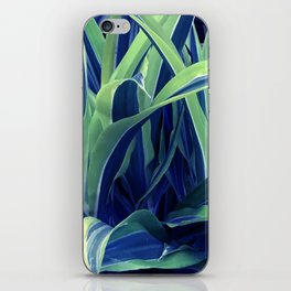 Exotic, Lush Blue and Green Leaves iPhone Skin