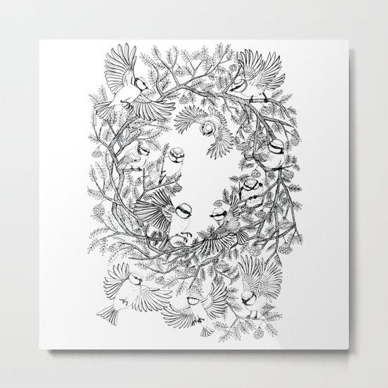Birds tree botanical pattern Metal Print