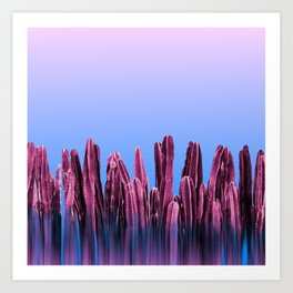 Dreamy Sunrise Cactus Landscape Glitch Art Print