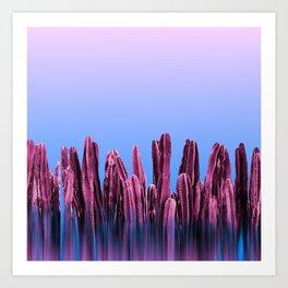 Dreamy Sunrise Cactus Landscape Glitch Art Print