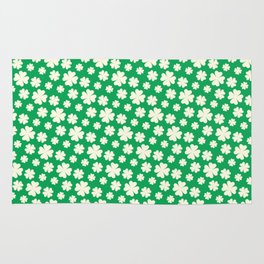 Off-White Four Leaf Clover Pattern with Green Background Rug