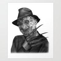 freddy krueger Art Prints featuring Freddy Krueger by axemangraphics