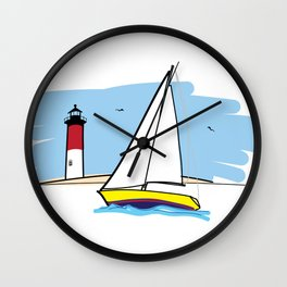 Sailboat Lighthouse and Beach Illustration Wall Clock