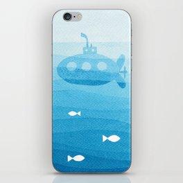 submarine, blue watercolor iPhone Skin