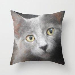 Russian Blue Kitten Portrait 3 Throw Pillow