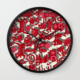 chinese animals red Wall Clock