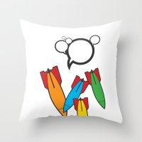 bombs away Throw Pillows featuring Bombs Away by Cloz000