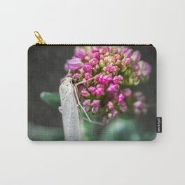 Macro of white night butterfly insect on valerian pink flower Carry-All Pouch