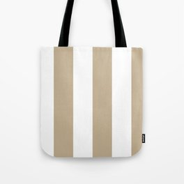 Wide Vertical Stripes - White and Khaki Brown Tote Bag