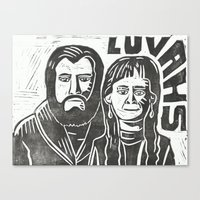 will ferrell Canvas Prints featuring Luvahs by Peter Dunne
