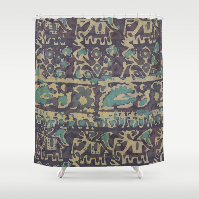 Elephant Batik Shower Curtain By Charikliazarris