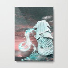 Singapore Merlion Statueion Sunset Metal Print