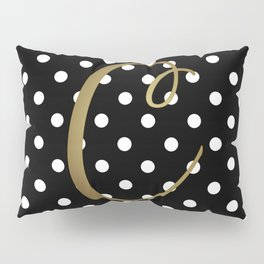 "Retro Black + White Polka Dot + Faux Gold Foil ""C"" Monogram Pillow Sham"
