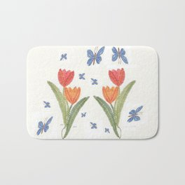 Tulipes et papillons en dentelle Bath Mat