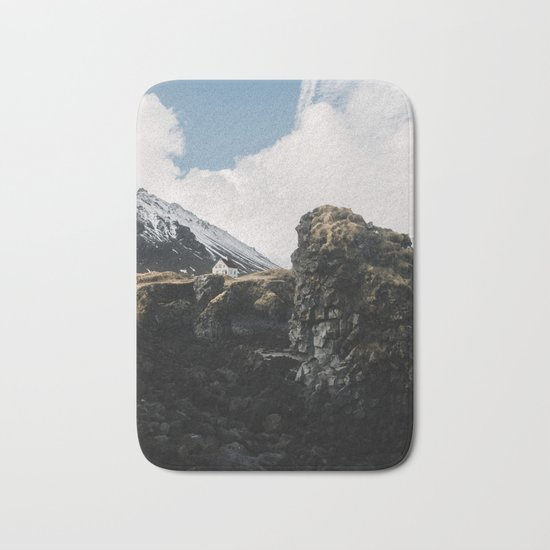 Cozy Mountain Cabin In Iceland - Landscape Photography Bath Mat