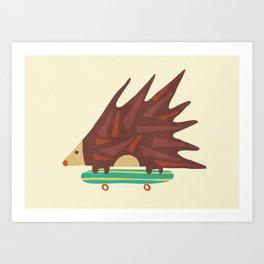 Hedgehog in hair raising speed Art Print
